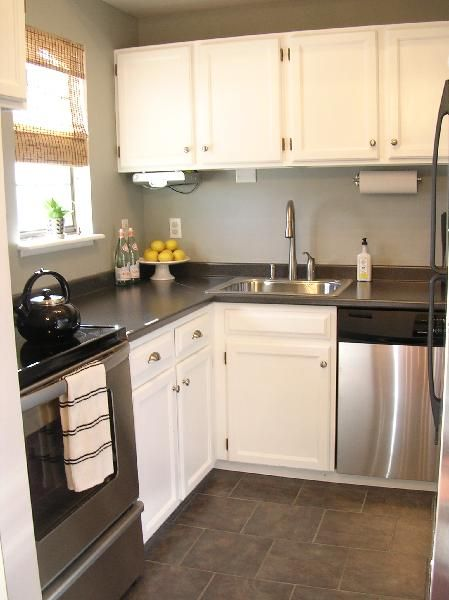 Kitchen with White Cabinets Gray Countertops