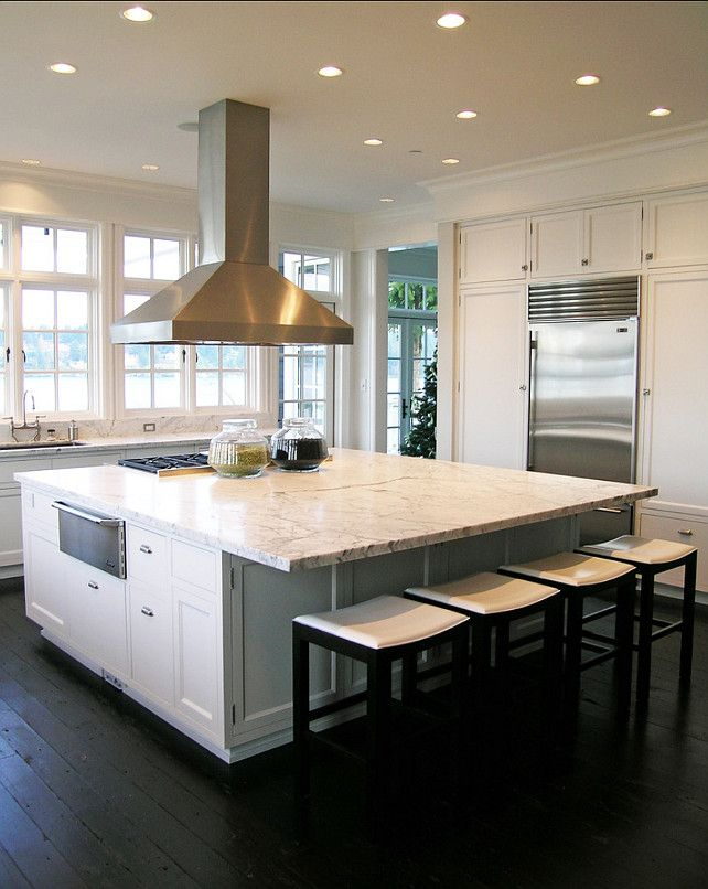 Kitchen with White Marble Countertops