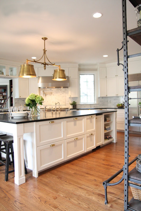 Kitchens with White Cabinets and Brass Fixtures
