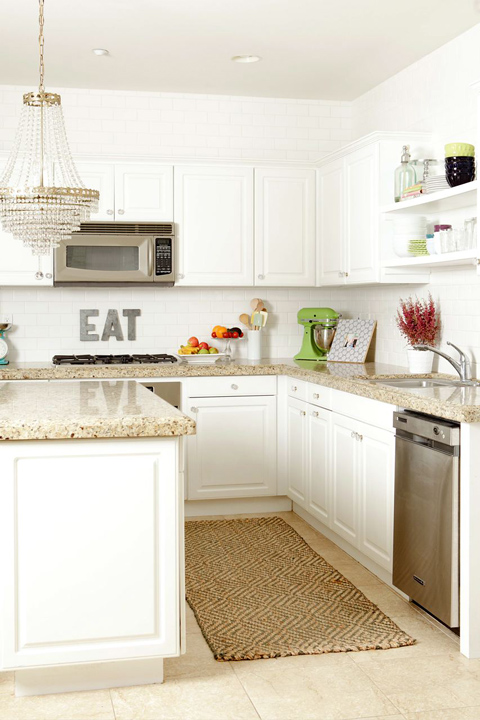 Kitchens with White Cabinets and Granite