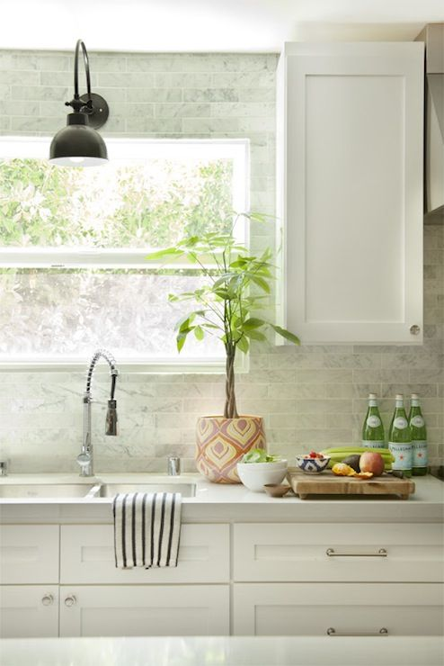 Kitchens with White Countertops Subway Tile Backsplash