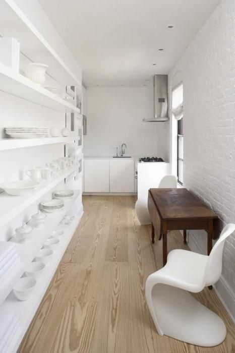 Narrow Kitchen with Open Shelves