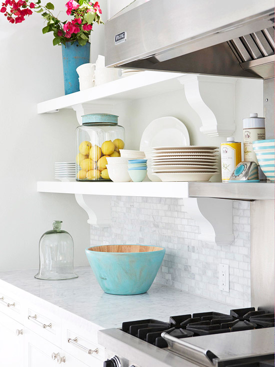 Open Kitchen Shelves with Brackets