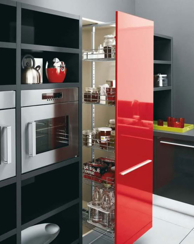 Red and Black Kitchen Cabinets