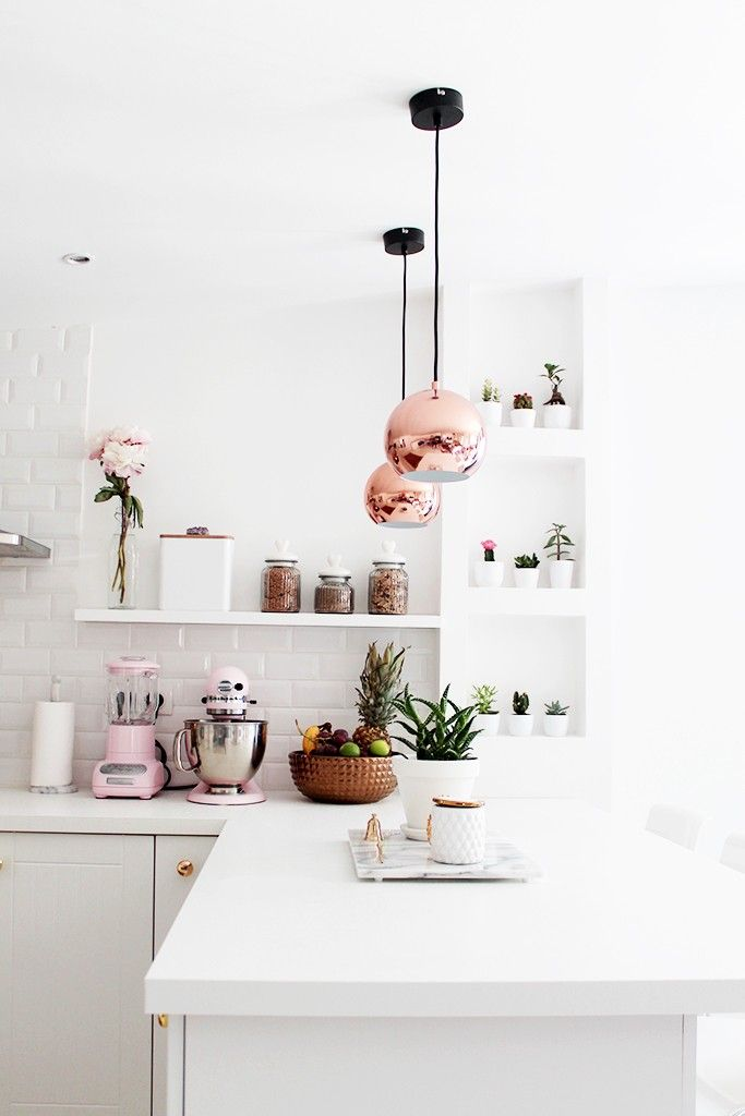 Rose Gold White Kitchen with Lights