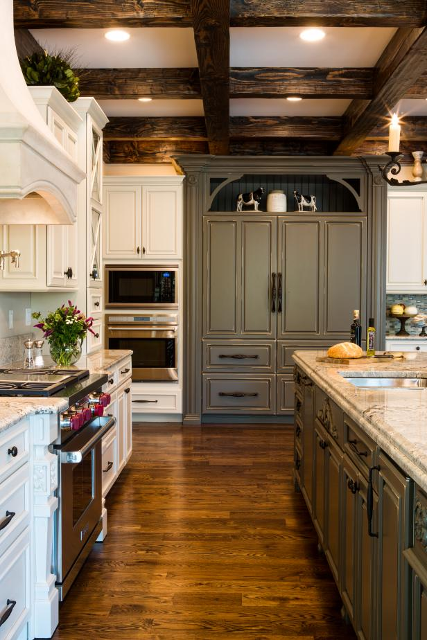 Rustic Coffered Ceiling Kitchen