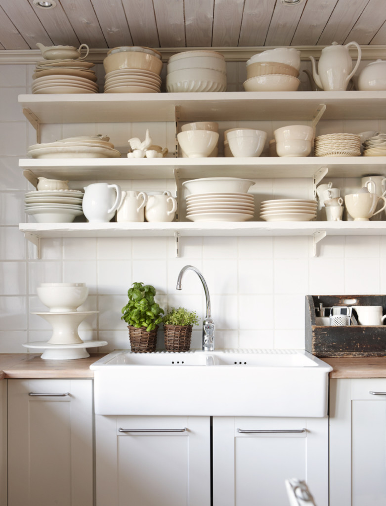 Rustic White Kitchen Open Shelves