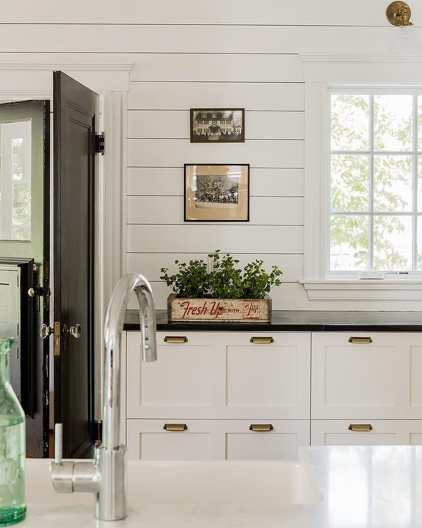 Shiplap Kitchen with Black and White