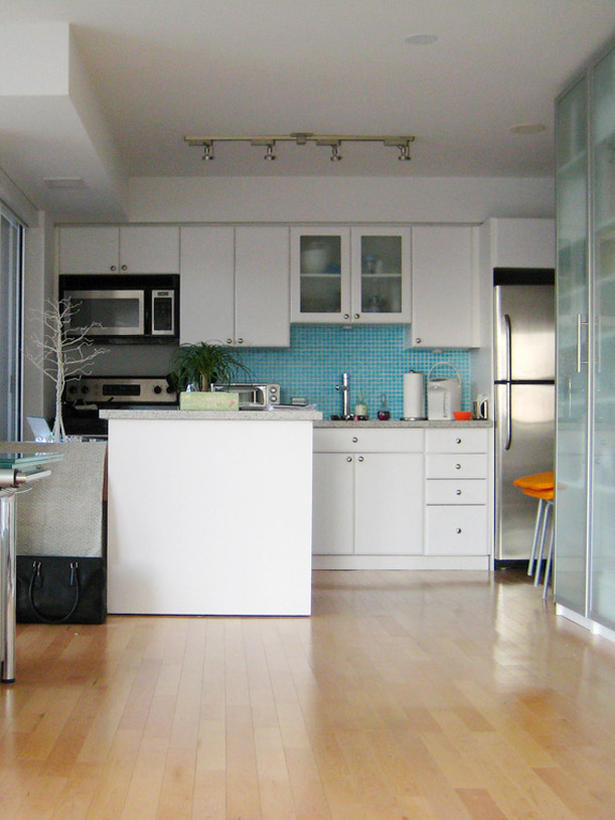 Small Kitchen Design with White Cabinets