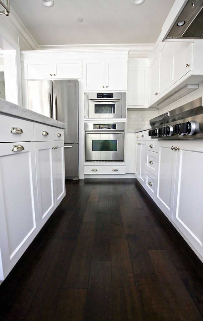 Small Kitchen Designs with Dark Hardwood Floors