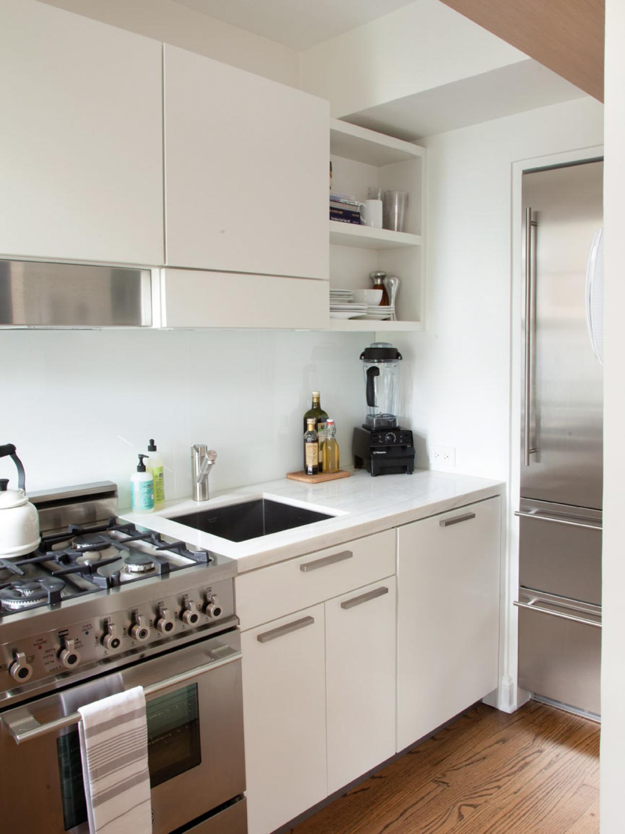 Small White Kitchen with Stainless Appliance
