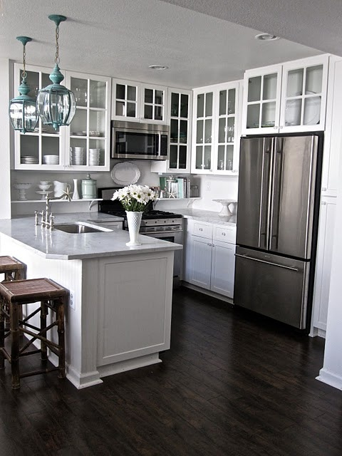 Small White Kitchens with Dark Floors and Cabinets