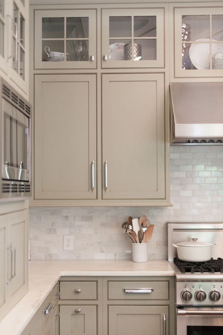 Taupe Painted Kitchen Cabinets
