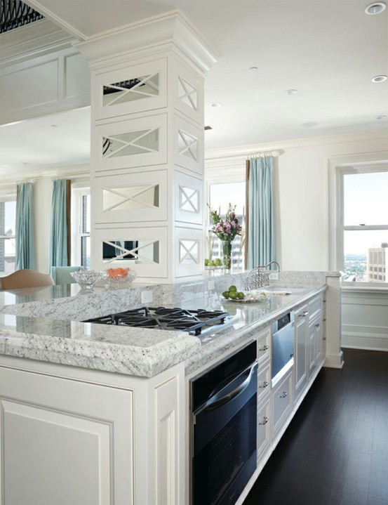 Turquoise Kitchen with White Granite