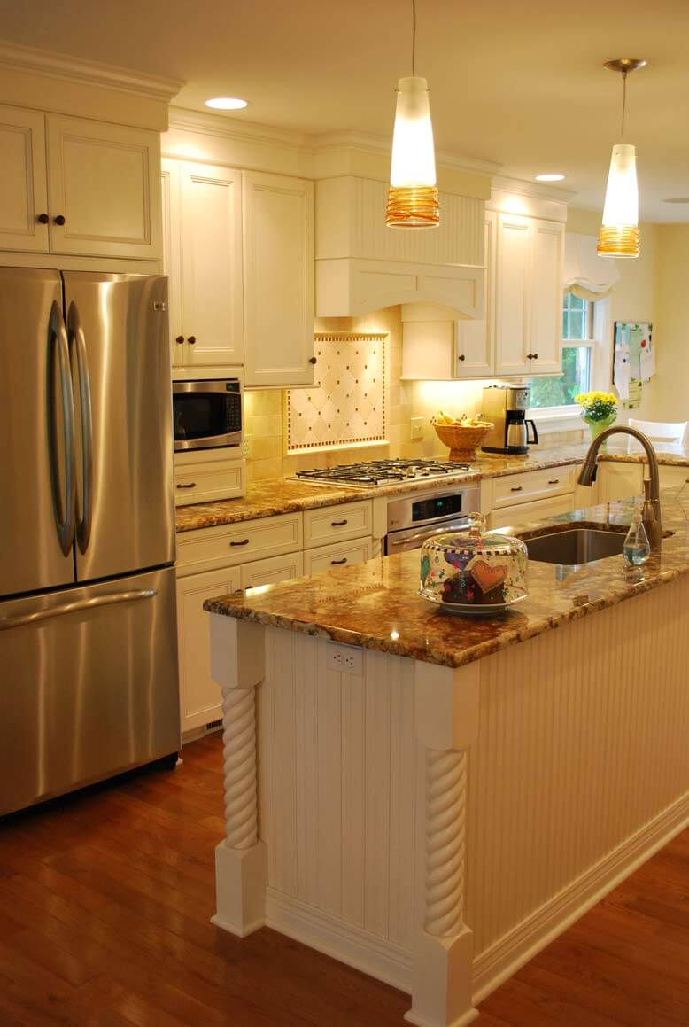 Warm White Cabinets with Granite