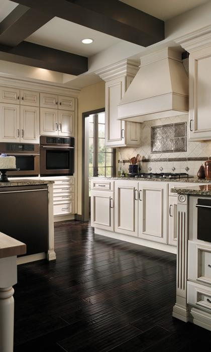 White Cabinets and Dark Wood Floors