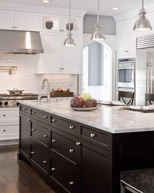 White Cabinets with Dark Island