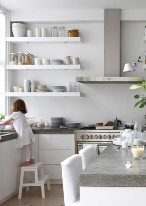 White Floating Shelves Kitchen