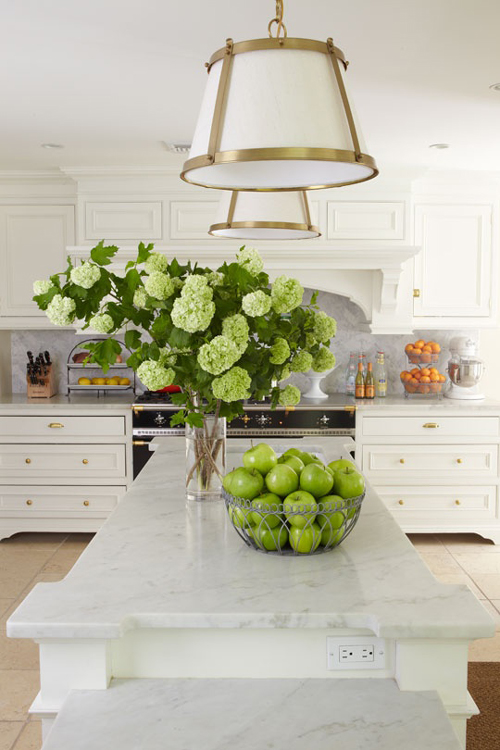 White Gold and Green Kitchen Accents