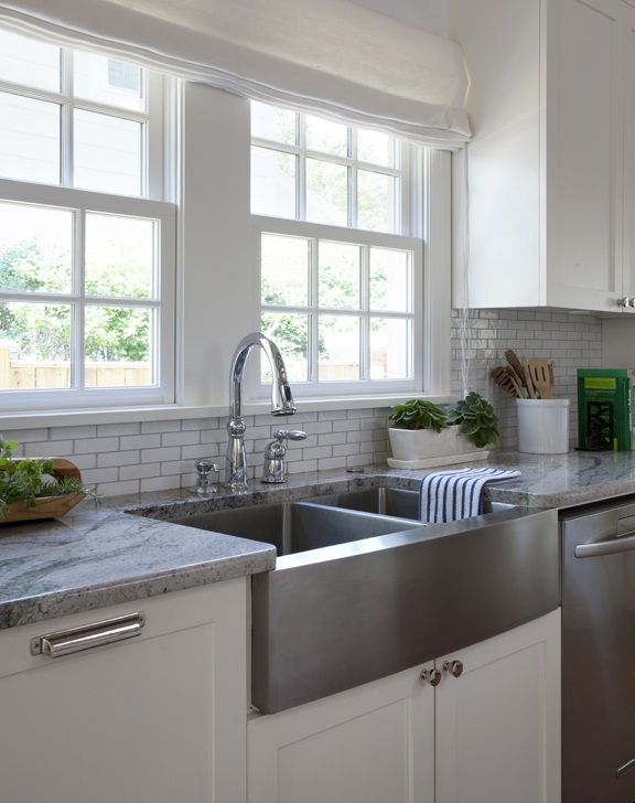 White Granite Kitchen Countertops with Sink