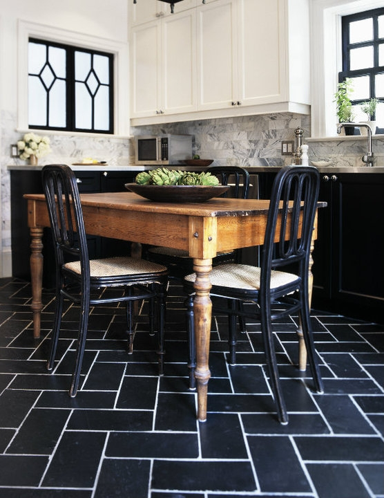 White Kitchen Black Floor Tiles