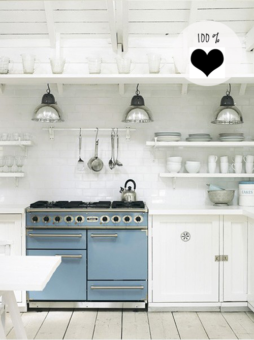 White Kitchen Blue Stove
