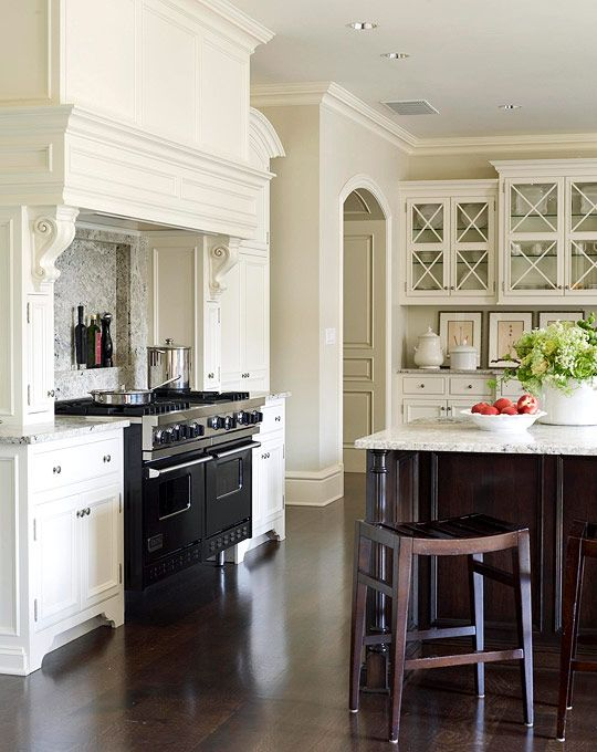 White Kitchen Cabinets with Black Hood Vent