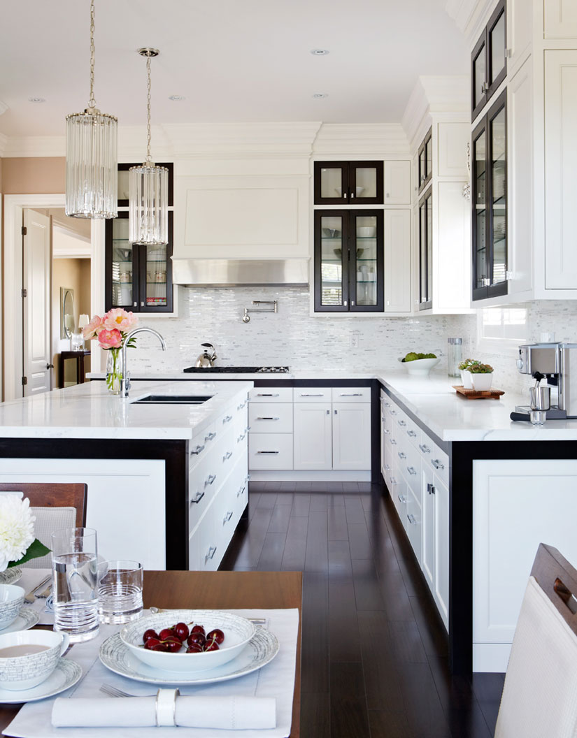 White Kitchen Cabinets with Black Trim