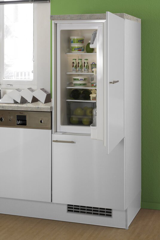 White Kitchen Cabinets with Built in Fridge