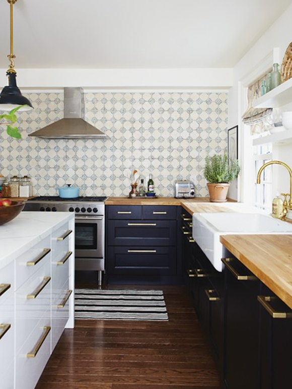 White Kitchen Cabinets with Gold Hardware