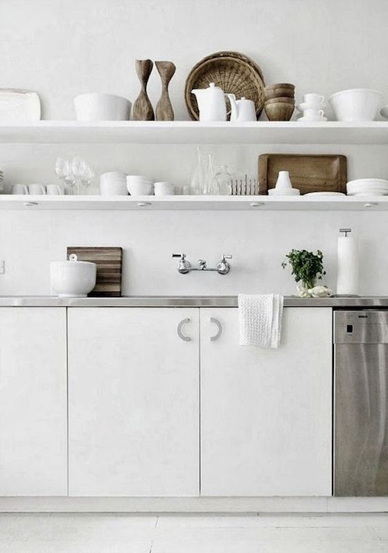 White Kitchen Shelves