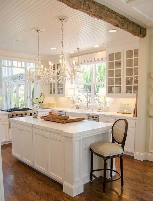 White Kitchen Vaulted Ceilings with Chandeliers