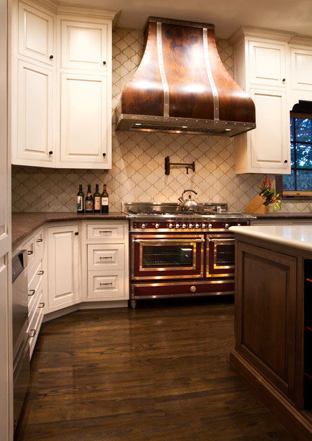 White Kitchen with Copper Range Hood