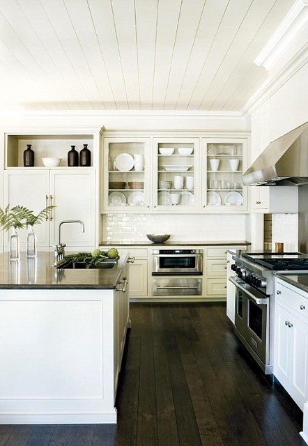 White Kitchen with Dark Floors