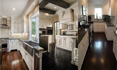 White Kitchen with Dark Floors Feture
