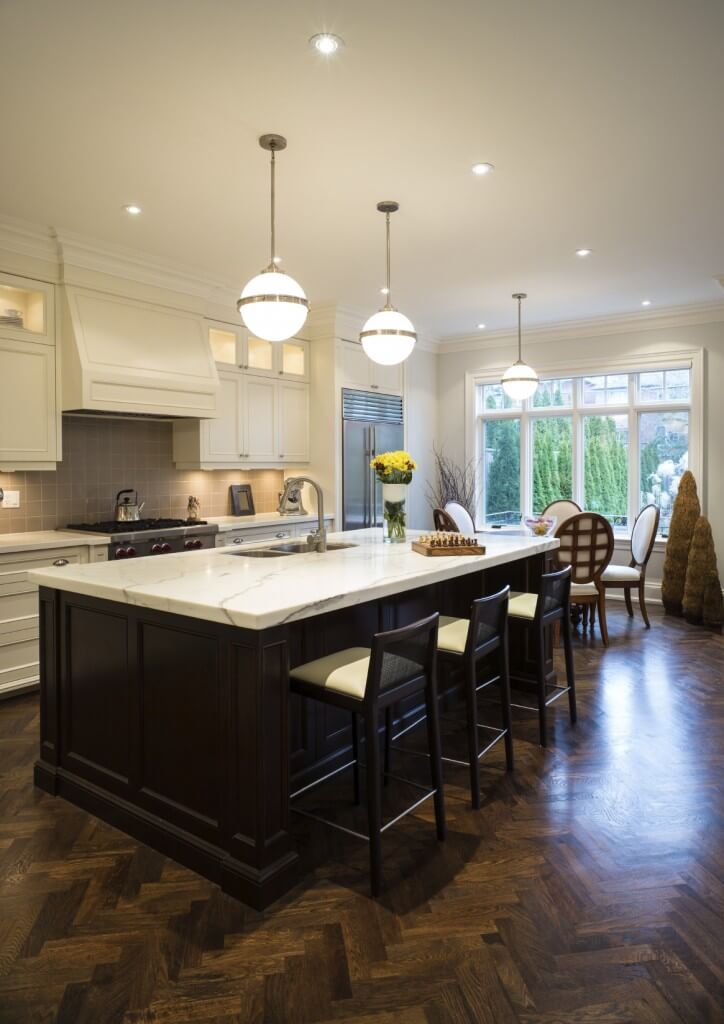 White Kitchen with Dark Wood Floors