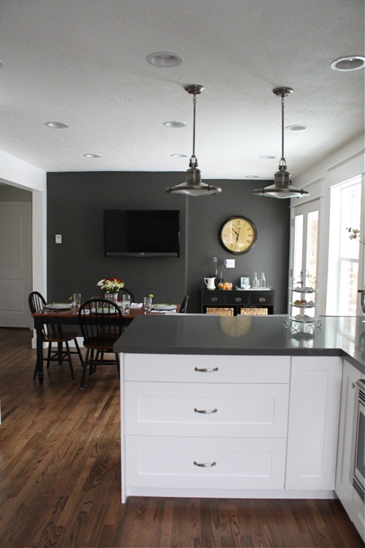 White Kitchen with Gray Accent Wall