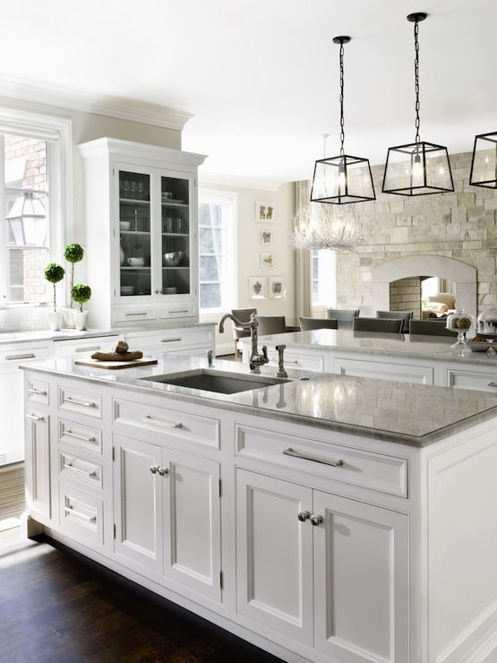 White Kitchen with Grey Granite
