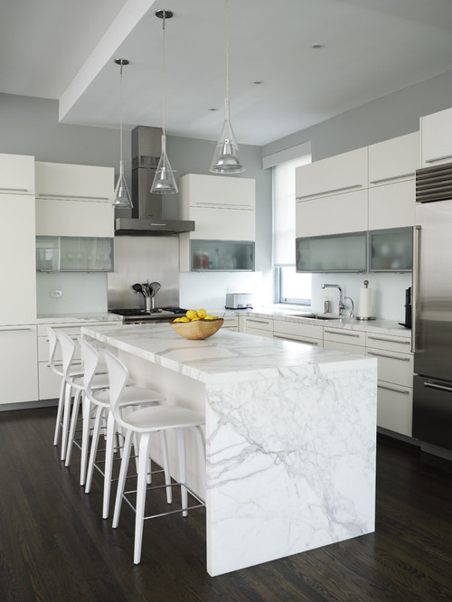 White Kitchen with Marble Counter Tops