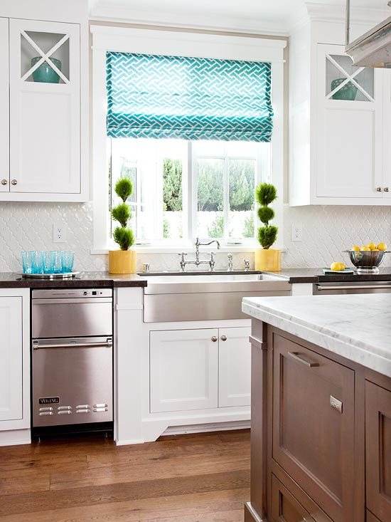 White Kitchen with Turquoise