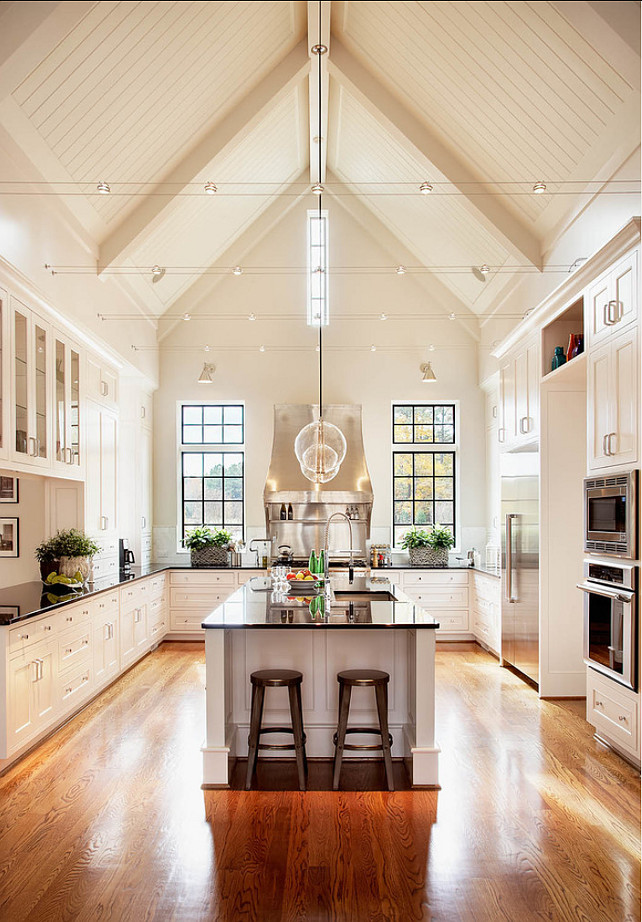 White Kitchen with Vaulted Ceiling