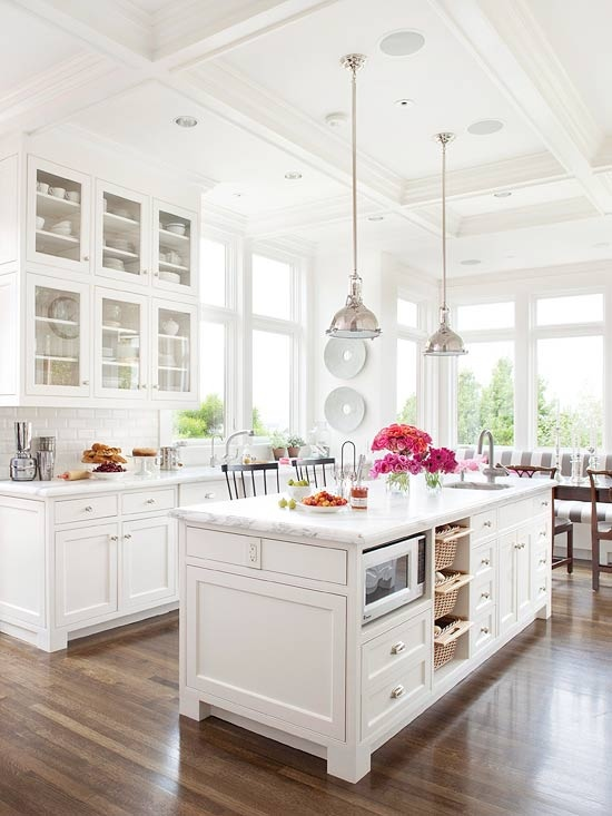 white kitchen with wood floors - White Farmhouse Kitchen