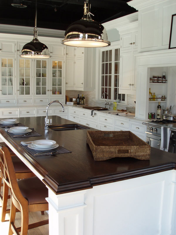 White Kitchens with Walnut Cabinets and Countertops