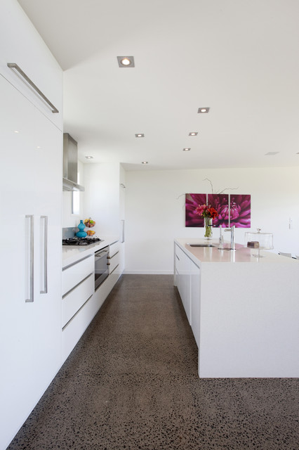 White Polished Concrete Kitchen Floor