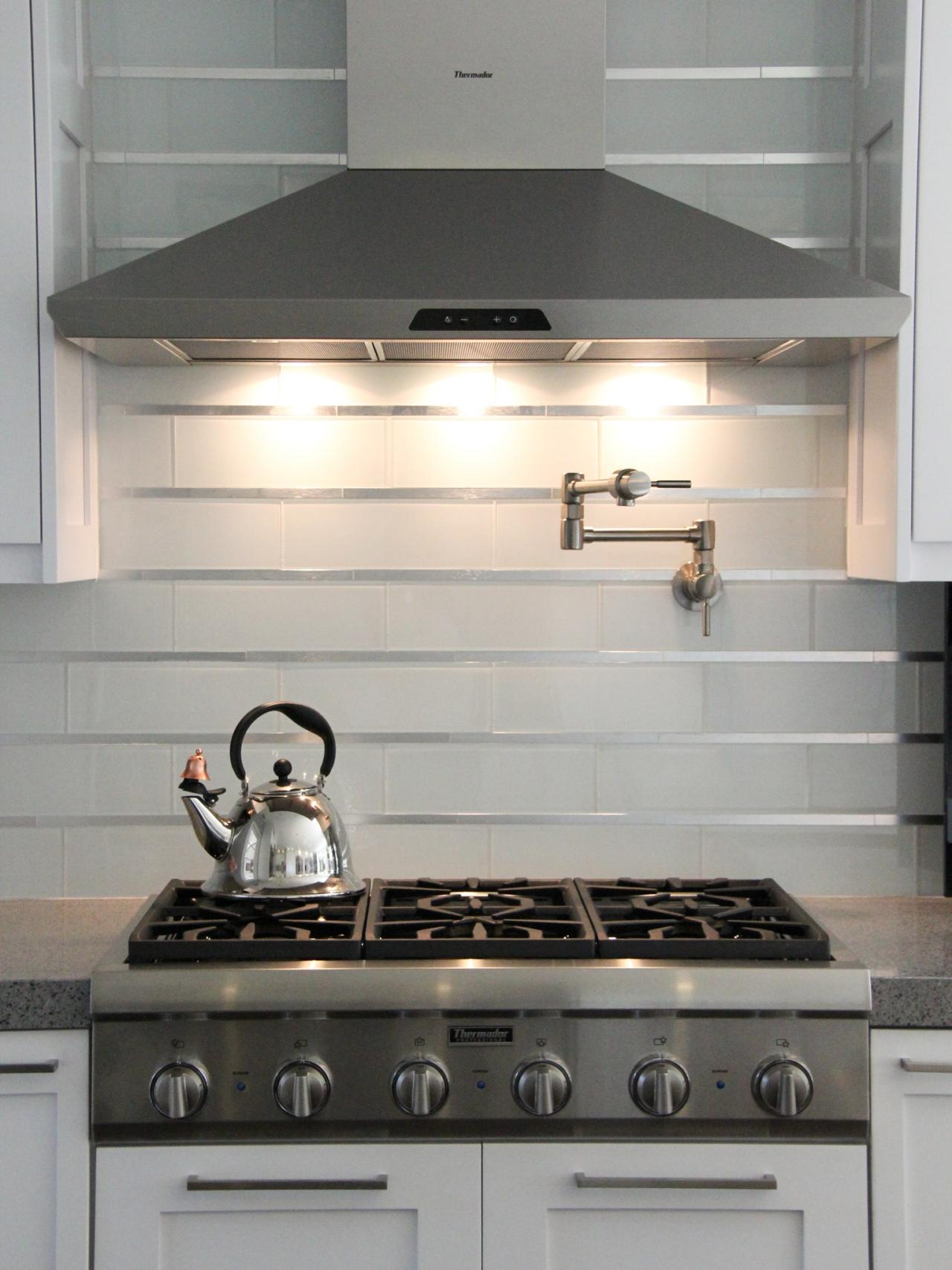 White Subway Tile Backsplash with Stainless Steel