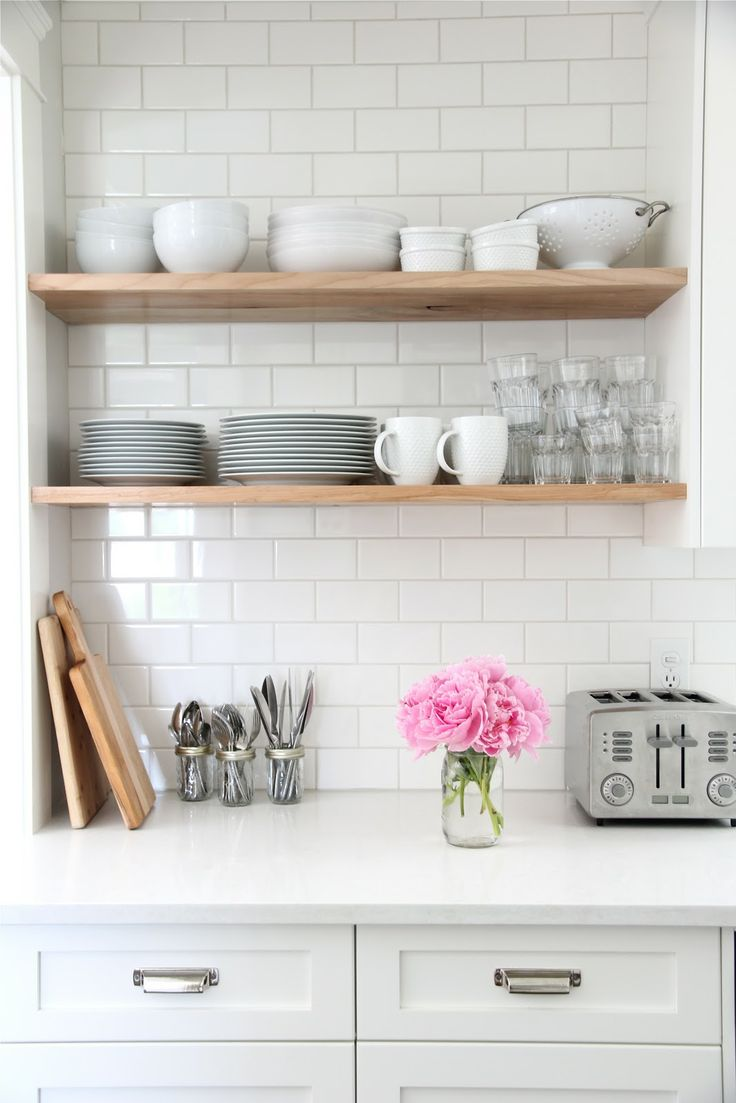 White Subway Tile and Wood Shelves