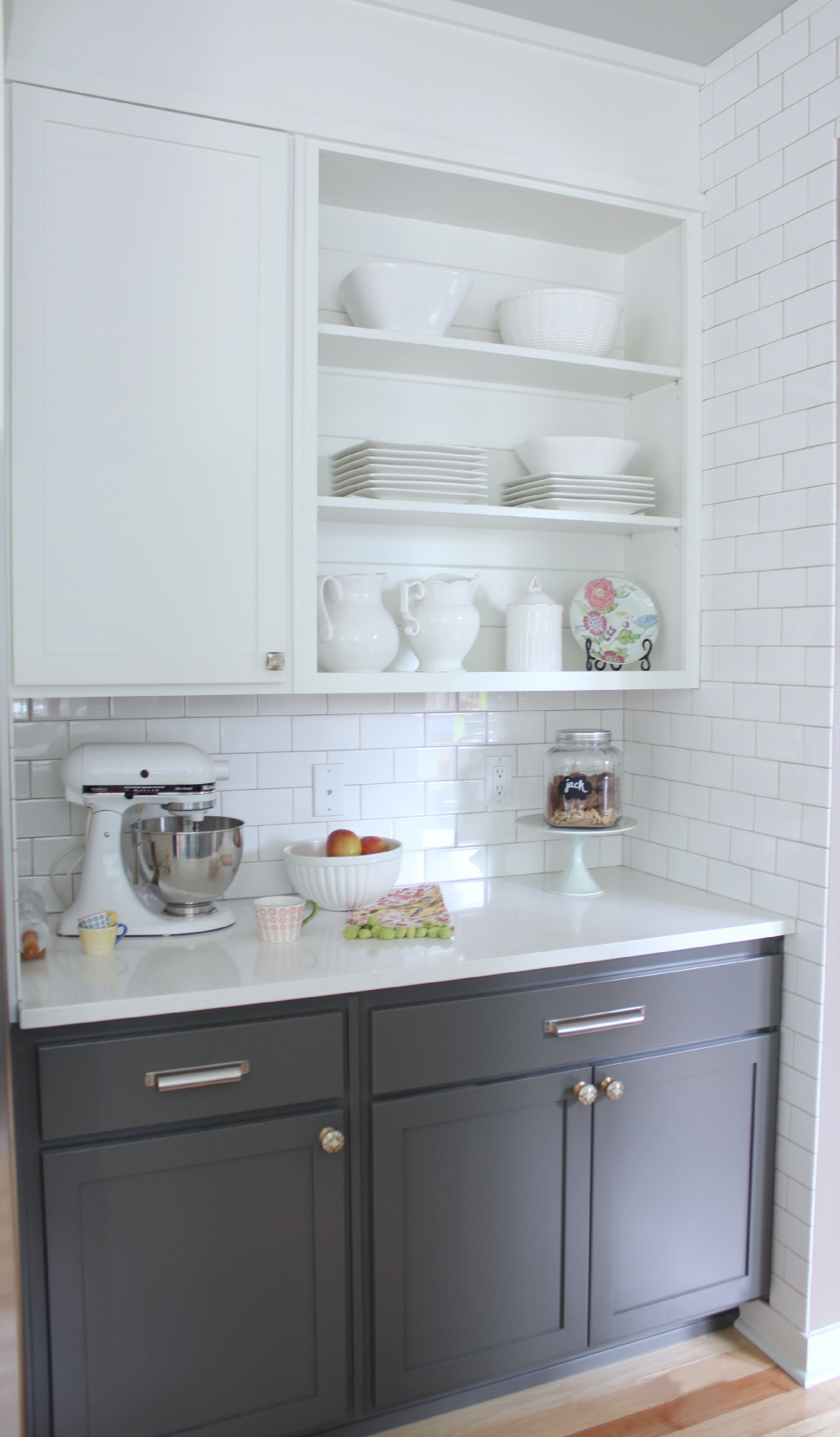 White Upper Gray Lower Kitchen Cabinets