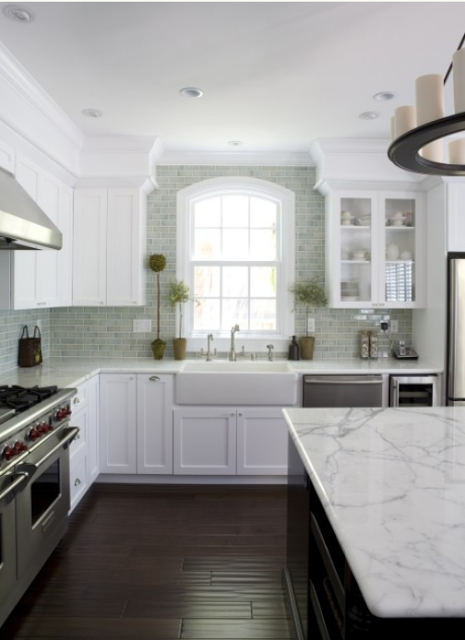 White with Black Granite Kitchen Countertops
