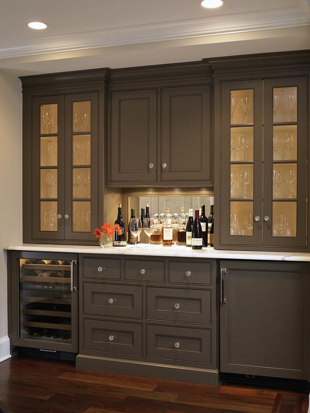 Bar And Dining Room Built In Cabinets