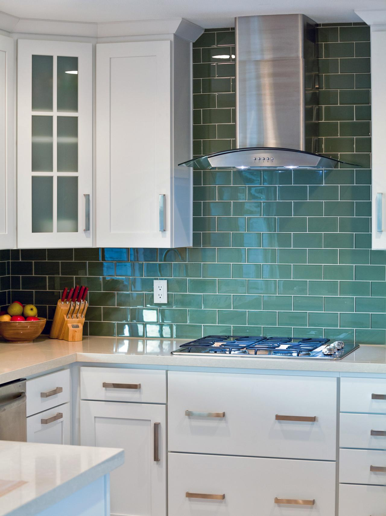 Blue Green Tile Backsplash